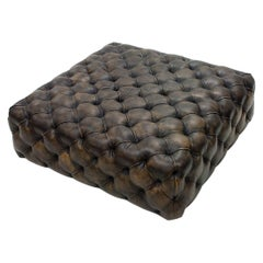 Browny Leather Ottoman Not Button