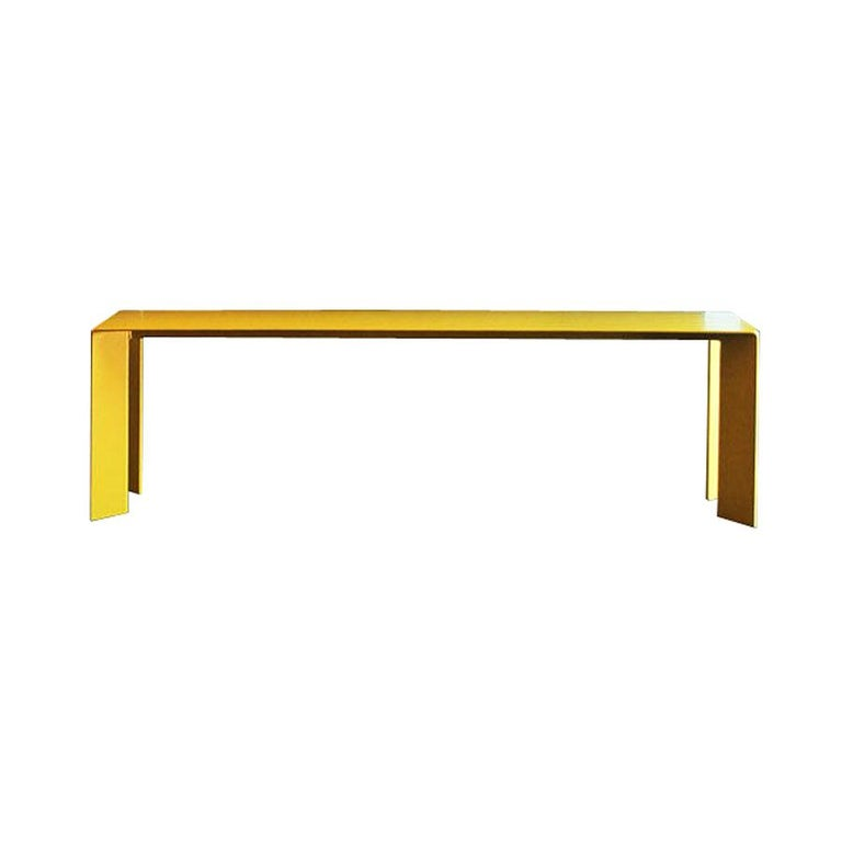 Laqué Yellow Bench in Steel For Sale