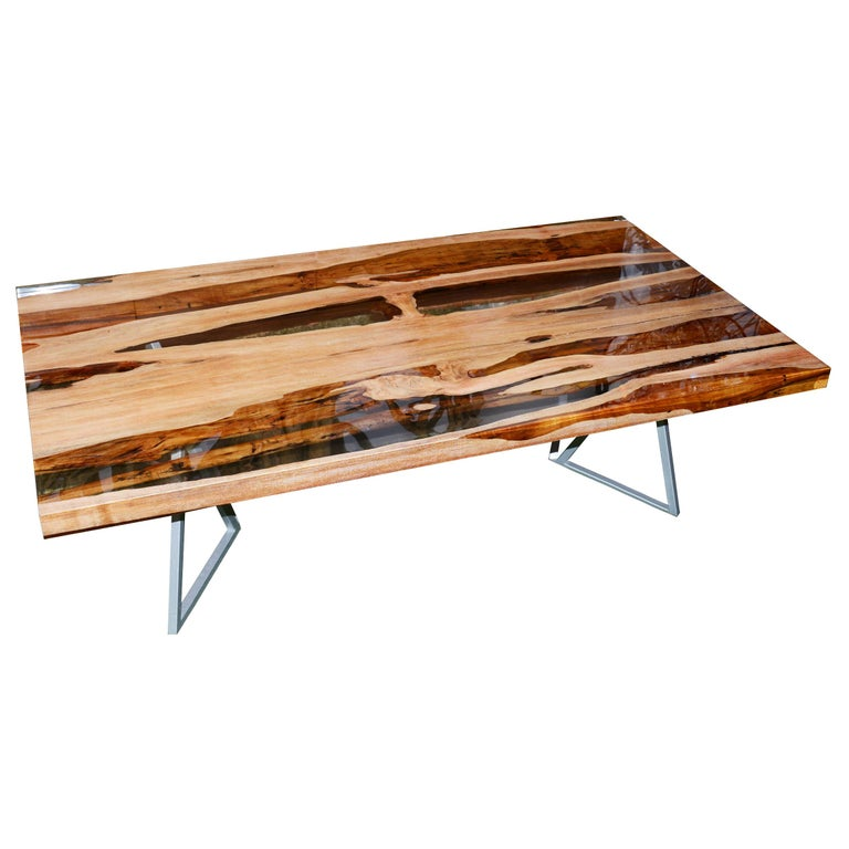 Aquariquara and Resin Coffee Table For Sale