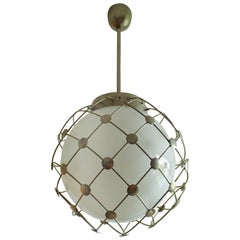Pair of Bauhaus Chandeliers White Round Opal Glass Covered with Mesh