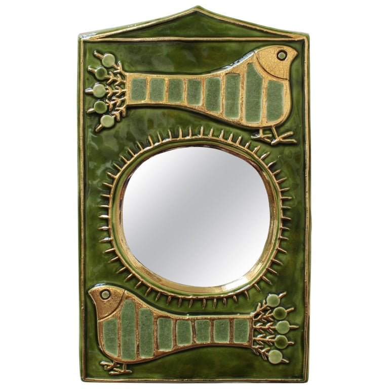 Ceramic Decorative Wall Mirror by François Lembo, 'circa 1970s' For Sale