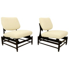 Pair of Italian Lounge Chair, New 'Meringue' Upholstery by Pierre Frey
