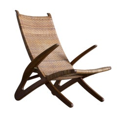 Hans Wegner Rare 'Dolphin Chair' in Oak and Cane for Johannes Hansen, 1950