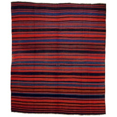 21st Century Red and Blue Nomadic Kurdish Stripes Kilim Rug in Wool, circa 1900s