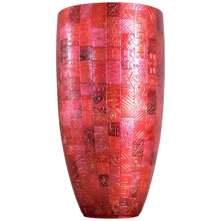 Tall Japanese Contemporary Red Silver Leaf Ceramic Vase by Master Artist For Sale