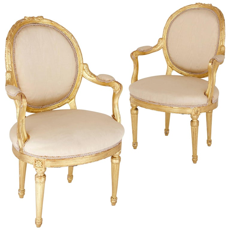 Two Louis XVI Style Giltwood Upholstered Fauteuil Armchairs For Sale
