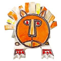 Ceramic Lion Sculpture by Bruno Gambone, circa Late 1960s