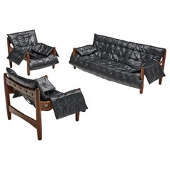 Sergio Rodrigues 'Sheriff' Living Room Set in Black Leather