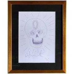 Damien Hirst Skull Sketch Artwork Signed COA