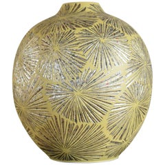 Japanese Contemporary Yellow Gilded Ceramic Vase by Master Artist
