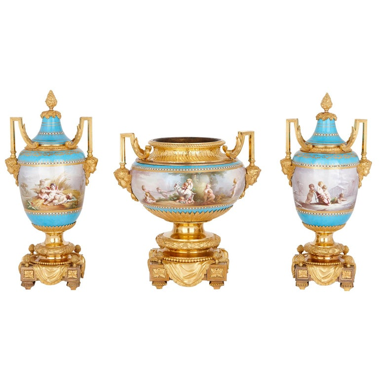 Sèvres Porcelain Garniture, Mounted in Gilt Bronze by Picard For Sale