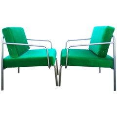Rare Pair of 1970s Green Velvet Armchairs Bauhaus