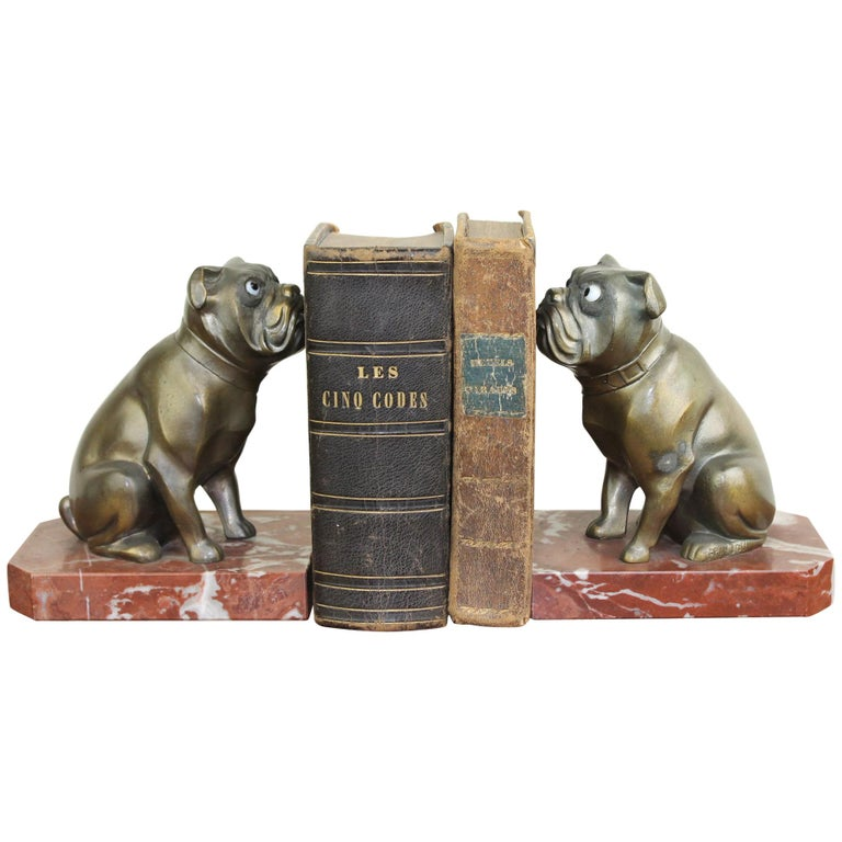 Art Deco Bulldog Bookends by Franjou, France For Sale
