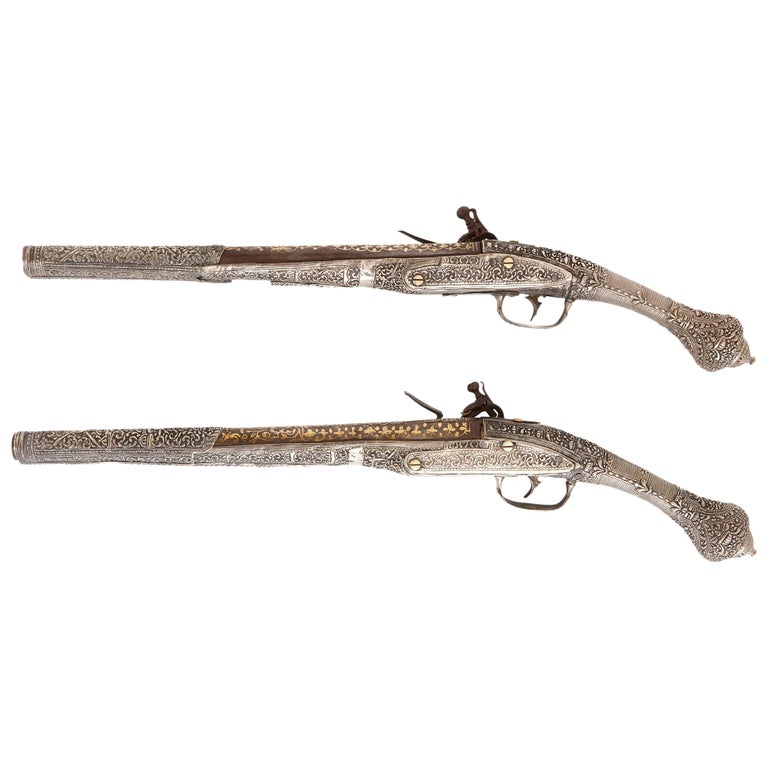 Two Antique Silver and Gold-Damascened Holster Pistols For Sale