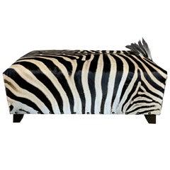Real Zebra Skin Ottoman