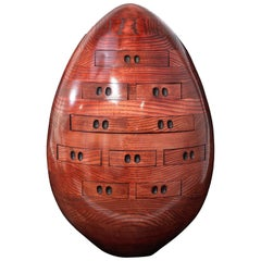 Red Egg, Multi Drawer Mini Chest, Hand Carved Wood Sculpture by Steve Turner