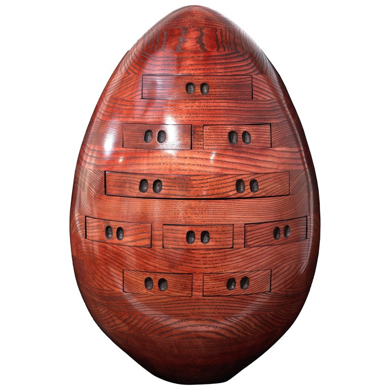 Red Egg, Multi Drawer Mini Chest, Hand Carved Wood Sculpture by Steve Turner For Sale