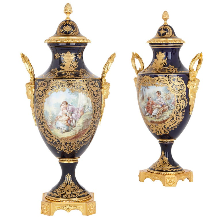 Two Sèvres Style Porcelain and Gilt Bronze Vases For Sale