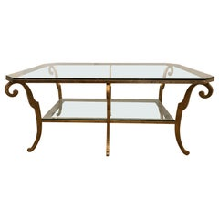 Impressive Gilt Iron and Glass Two-Tier Coffee Table