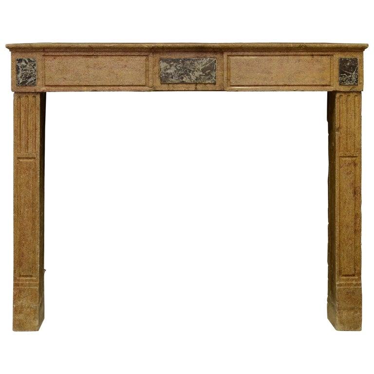 Small Limestone Louis XVI Fireplace Mantel For Sale