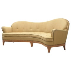 Rare French Curved Sofa with Asymmetrical Backrest, 1930s