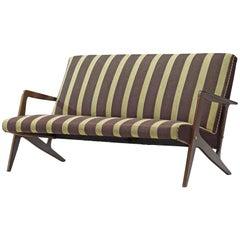 Scandinavian Settee in Striped Fabric and Organic Frame