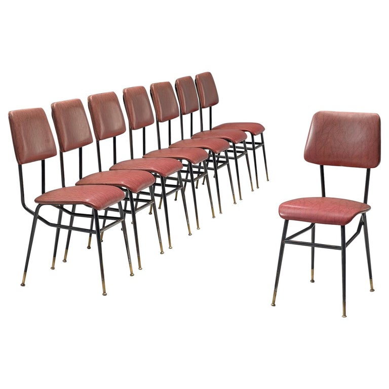 Set of Eight Italian Dining Chairs with Brass Feet For Sale