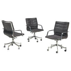 Jørgen Lund & Ole Larsen Set of Three Office Chairs in Dark Brown Leather