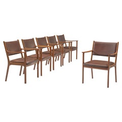 Ole Wanscher Set of Six 'PJ412' Armchairs in Teak and Brown Leather