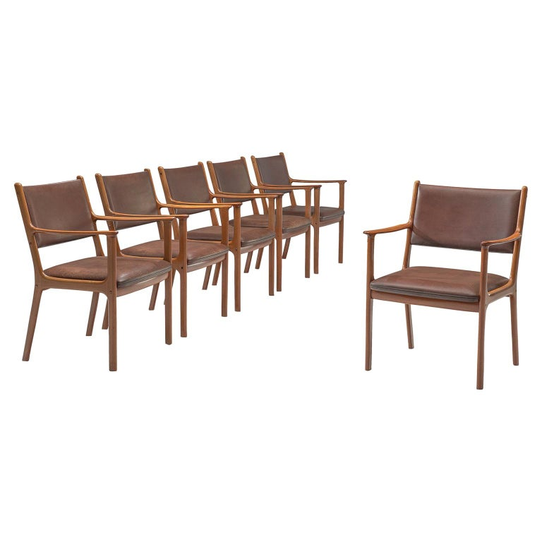 Ole Wanscher Set of Six 'PJ412' Armchairs in Teak and Brown Leather For Sale