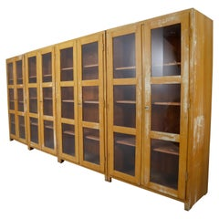 Large French Midcentury Eight Glazed Doors Display Cabinet in Original Paint