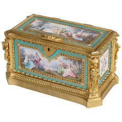 Blue Porcelain and Gilt Jewelry Box in the Louis XVI Style