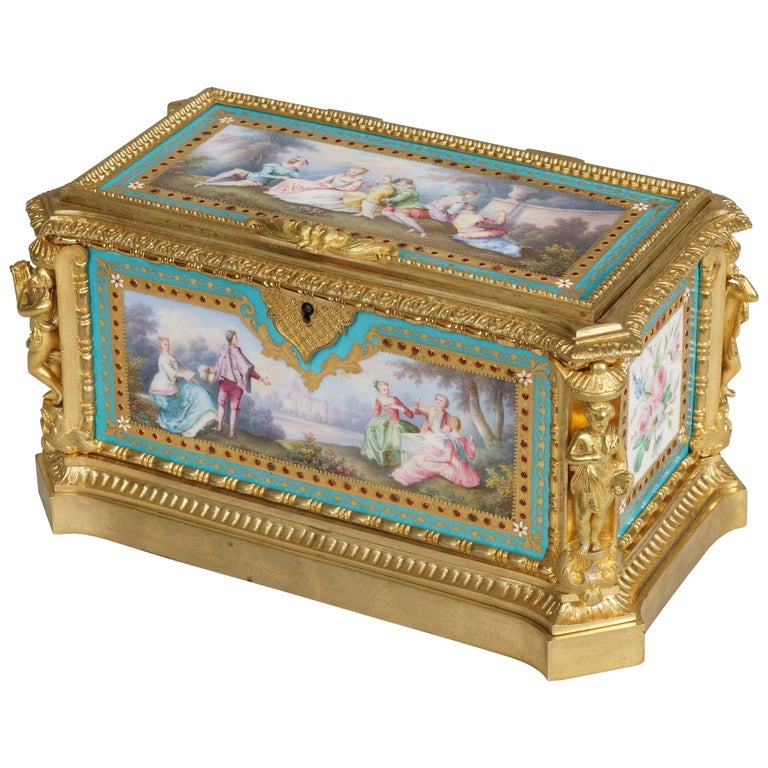 Blue Porcelain and Gilt Jewelry Box in the Louis XVI Style For Sale