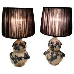 19th Century Chinoiserie Pair of Table Lamps with Organza Shades