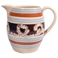 English Pottery Mocha Large Barrel-Form Jug with Earthworm Design, circa 1820