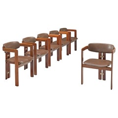 Augosto Savini Set of Six 'Pamplona' Chairs in Taupe Leather