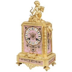 19th Century French Pink Porcelain Clock with Romantic Emblems