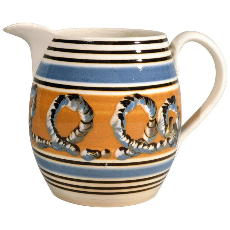 Banded Pearlware Mocha Jug with Earthworm Design, 1790-1810 For Sale