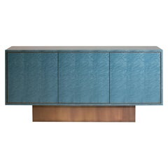 Palisades Side Cabinet, 1970s Inspired, in Bird's-Eye Maple and Antiqued Brass