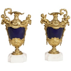 Antique Pair of Decorative Vases in Royal Blue Porcelain and Gilt
