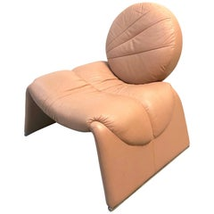 Postmodern Pink Leather Lounge Chair, 1980s