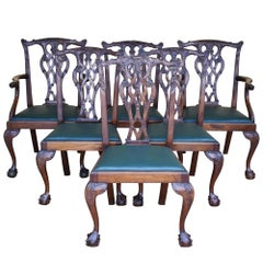 19th Century Set of 6 Chippendale Style Carved Mahogany Dining Chairs