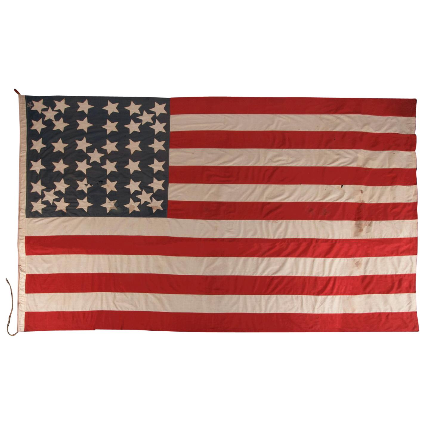 41 Stars In a Lineal Pattern With Offset Stars, Montana Statehood American Flag