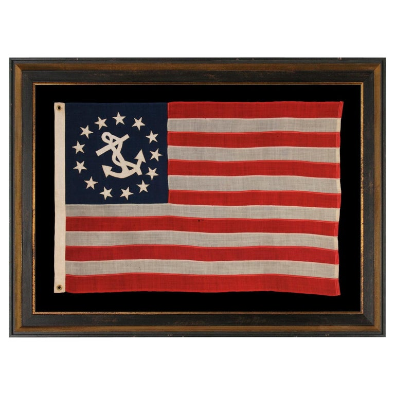 American flag with 13 stars from a private yacht, 1895–1926