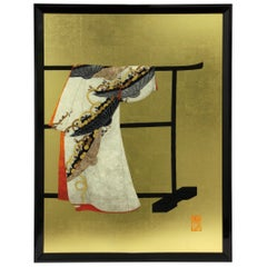 Large Contemporary Japanese Red Gilded Silk and Brocade Decorative Art, Framed