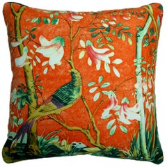 Vintage Cushions Luxury Bespoke Silk Pillow 'Golden Pheasant', Made in London
