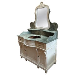 19th Century French Hand-Painted Cupboard Sink with Mirror and Marble Top. 1890s