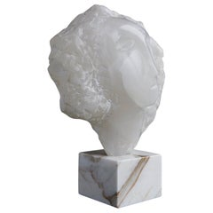 Modern White Onyx Sculpture of a Woman's Face on Marble Base, Unsigned