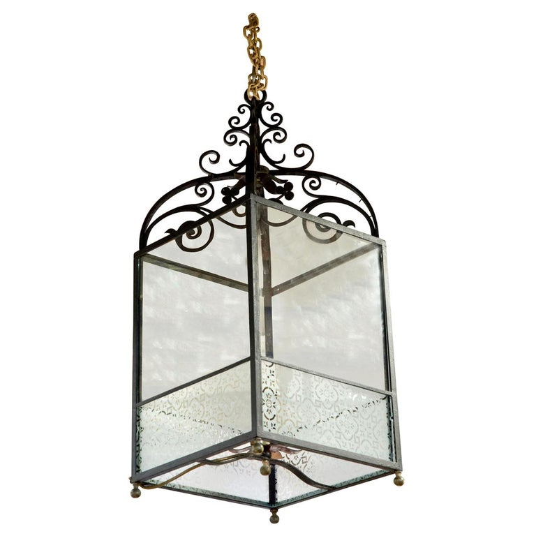 Wrought iron lantern with frosted panels to lower part For Sale