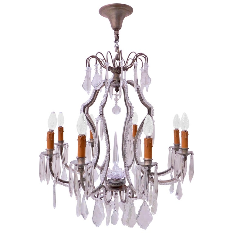 Antique Belgian Glass Beaded and Crystal Prism Eight-Arm Chandelier For Sale
